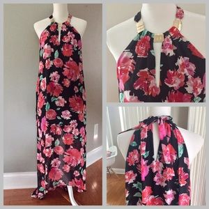 Guess chiffon floral maxi halter dress